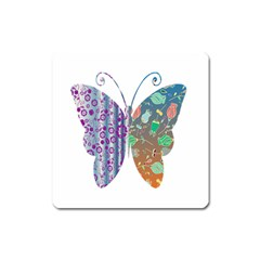 Vintage Style Floral Butterfly Square Magnet