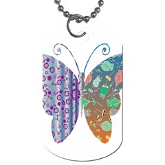 Vintage Style Floral Butterfly Dog Tag (One Side)