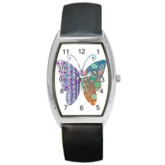 Vintage Style Floral Butterfly Barrel Style Metal Watch
