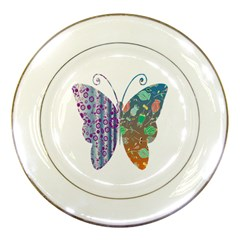 Vintage Style Floral Butterfly Porcelain Plates