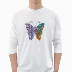 Vintage Style Floral Butterfly White Long Sleeve T Shirts