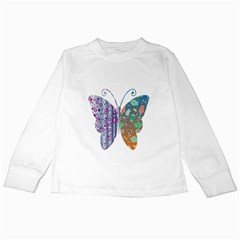 Vintage Style Floral Butterfly Kids Long Sleeve T Shirts
