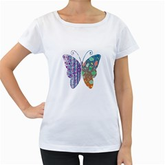 Vintage Style Floral Butterfly Women s Loose Fit T Shirt (white)