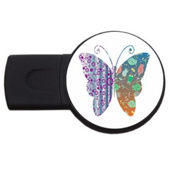 Vintage Style Floral Butterfly Usb Flash Drive Round (4 Gb)
