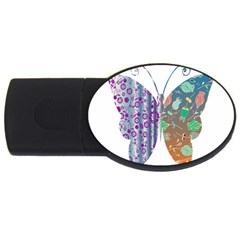 Vintage Style Floral Butterfly Usb Flash Drive Oval (4 Gb)