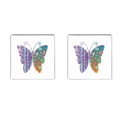 Vintage Style Floral Butterfly Cufflinks (square)