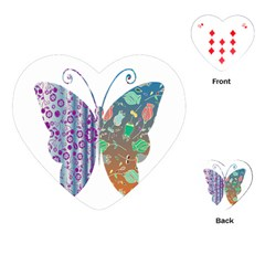 Vintage Style Floral Butterfly Playing Cards (heart)