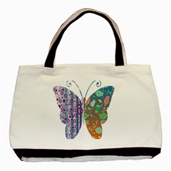 Vintage Style Floral Butterfly Basic Tote Bag