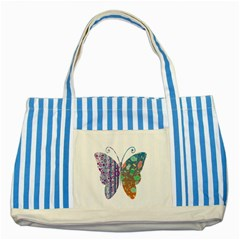 Vintage Style Floral Butterfly Striped Blue Tote Bag
