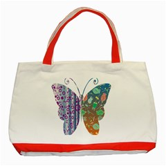 Vintage Style Floral Butterfly Classic Tote Bag (red)
