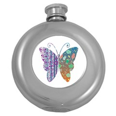 Vintage Style Floral Butterfly Round Hip Flask (5 Oz)