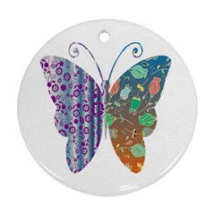 Vintage Style Floral Butterfly Round Ornament (two Sides)