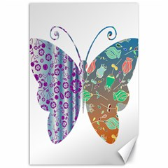 Vintage Style Floral Butterfly Canvas 24  X 36