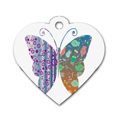 Vintage Style Floral Butterfly Dog Tag Heart (one Side)