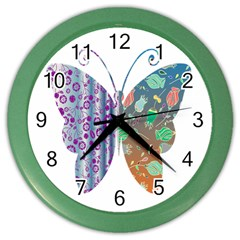 Vintage Style Floral Butterfly Color Wall Clocks