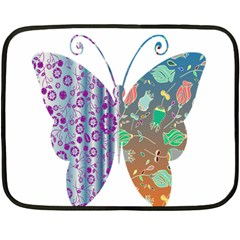 Vintage Style Floral Butterfly Double Sided Fleece Blanket (mini)