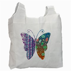 Vintage Style Floral Butterfly Recycle Bag (two Side)
