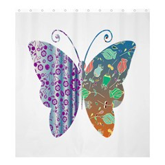 Vintage Style Floral Butterfly Shower Curtain 66  X 72  (large)