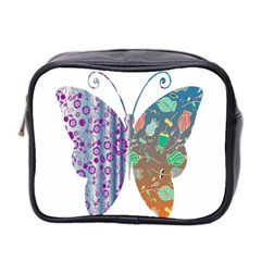 Vintage Style Floral Butterfly Mini Toiletries Bag 2 Side