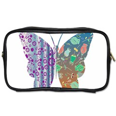 Vintage Style Floral Butterfly Toiletries Bags 2 Side