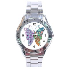 Vintage Style Floral Butterfly Stainless Steel Analogue Watch