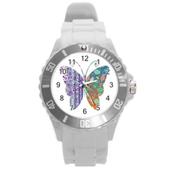 Vintage Style Floral Butterfly Round Plastic Sport Watch (l)