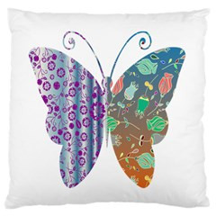Vintage Style Floral Butterfly Large Cushion Case (two Sides)