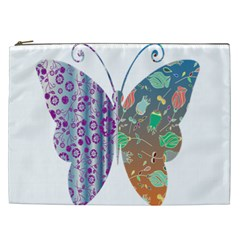 Vintage Style Floral Butterfly Cosmetic Bag (xxl)