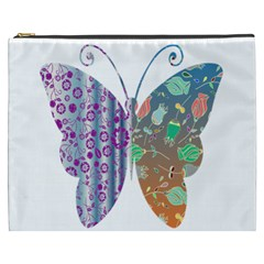 Vintage Style Floral Butterfly Cosmetic Bag (XXXL)