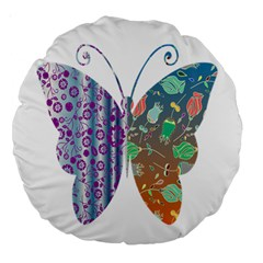 Vintage Style Floral Butterfly Large 18  Premium Round Cushions