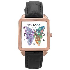 Vintage Style Floral Butterfly Rose Gold Leather Watch