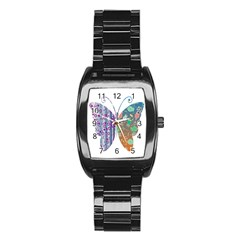 Vintage Style Floral Butterfly Stainless Steel Barrel Watch