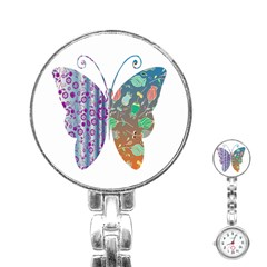 Vintage Style Floral Butterfly Stainless Steel Nurses Watch