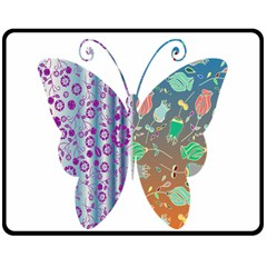 Vintage Style Floral Butterfly Double Sided Fleece Blanket (medium)