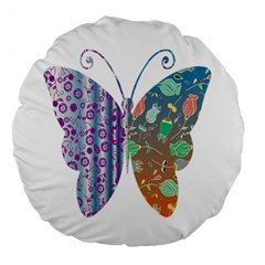 Vintage Style Floral Butterfly Large 18  Premium Flano Round Cushions