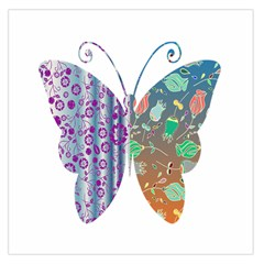 Vintage Style Floral Butterfly Large Satin Scarf (square)