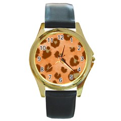 Seamless Tile Background Abstract Round Gold Metal Watch