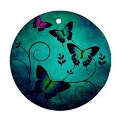 Texture Butterflies Background Ornament (round)