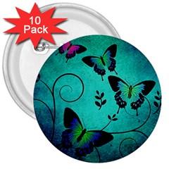 Texture Butterflies Background 3  Buttons (10 Pack)