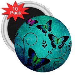 Texture Butterflies Background 3  Magnets (10 Pack)