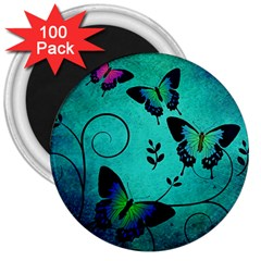 Texture Butterflies Background 3  Magnets (100 Pack)