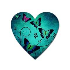 Texture Butterflies Background Heart Magnet