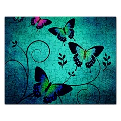 Texture Butterflies Background Rectangular Jigsaw Puzzl