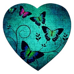 Texture Butterflies Background Jigsaw Puzzle (heart)