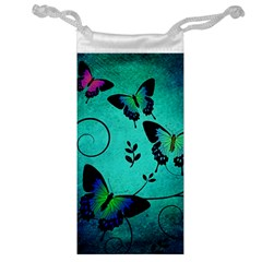 Texture Butterflies Background Jewelry Bag