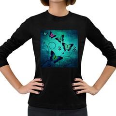 Texture Butterflies Background Women s Long Sleeve Dark T Shirts