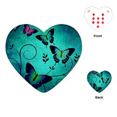 Texture Butterflies Background Playing Cards (Heart)
