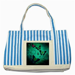 Texture Butterflies Background Striped Blue Tote Bag