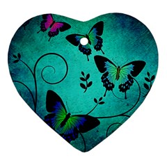 Texture Butterflies Background Heart Ornament (two Sides)