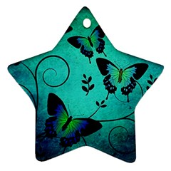 Texture Butterflies Background Star Ornament (two Sides)